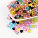 Transparent Acrylic Beads, Faceted Rondelle, Mixed Color, about 8mm in diameter, 5mm thick, hole: 1.5mm, about 2272pcs/500g