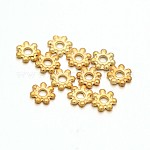 Light Gold Plated Alloy Flower Daisy Spacer Beads, Golden, 4.5x1mm, Hole: 1mm
