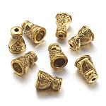 Tibetano, estilo, cuenta, cono, color dorado antiguo, sin plomo y níquel y cadmio, florero, color dorado antiguo, tamaño: aproximamente 7.5 mm de ancho, 10 mm de largo, agujero: 1.5 mm