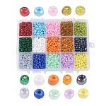 1箱15色6/0ガラスシードビーズ, ミックスカラー, 4mm, 穴:1mm;約390個/コンパートメント, 5850個/箱