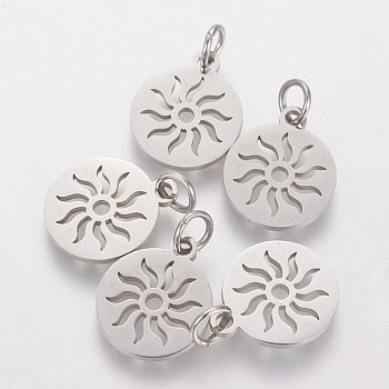 304 Stainless Steel Pendants, Flat Round with Sun, Stainless Steel Color, 14x12x1.1mm, Hole: 3mm