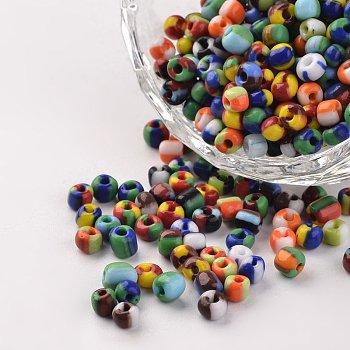 6/0 Perlas de vidrio opacas de colores opacos, abalorios de la semilla redondas, color mezclado, 3.5~4x2.5~3mm, Agujero: 0.5 mm, aproximamente 610 unidades / 50 g
