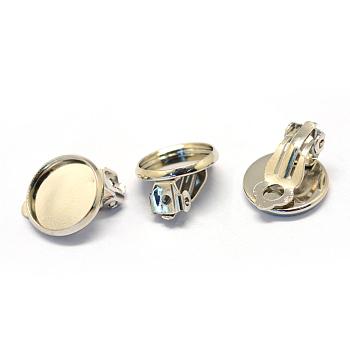 Hierro pendientes de clip, plano y redondo, Platino, Bandeja: 12 mm; 20.5x14x5 mm