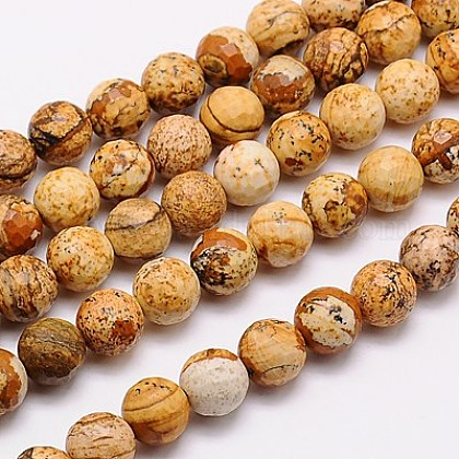 Natural Picture Jasper Beads Strands G-G542-14mm-08-1
