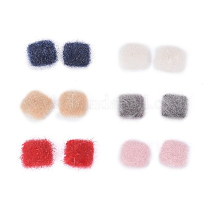 Faux Mink Fur Covered Cabochons WOVE-X0001-19-1