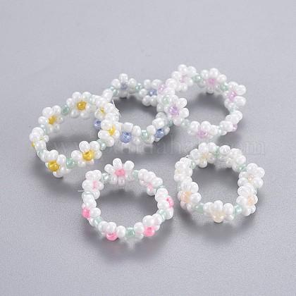 Semilla de vidrio con cuentas anillos elásticosRJEW-JR00253-1