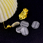 Plastic Earring Pads, Clip Earring Cushions, For No-Pierced Clip-on Earrings, Clear, 10.5x8mm