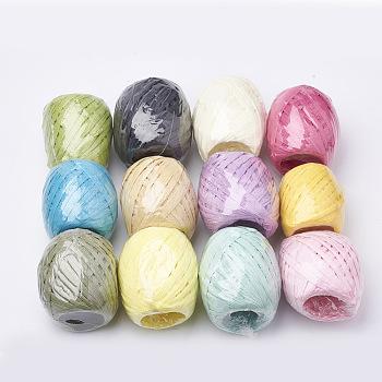 Colorida cinta de rafia, rafia cable de cuerda de papel para proyectos de diy, oval, color mezclado, 3.8~6.2 mm; 20 m / rollo; 12 rollos / bolsa