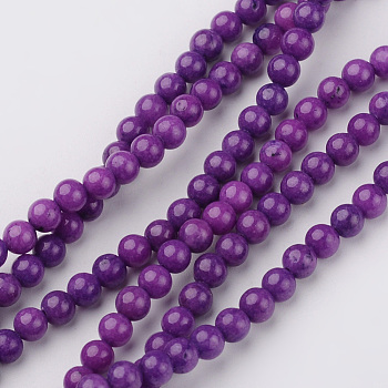 Natural Mashan Jade Bead Strands, Round, Dyed, DarkViolet, 4mm, Hole: 0.7mm; about 98pcs/strand, 16inches