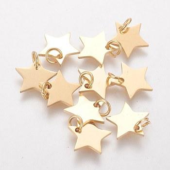 Encantos de 304 acero inoxidable, estrella, dorado, 11x12x1.1mm, agujero: 4 mm