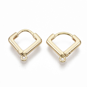 Brass Huggie Hoop Earring Findings, Nickel Free, Real 18K Gold Plated, with Loop, 13x13x2.5mm, Hole: 1mm, Pin: 0.8x1mm