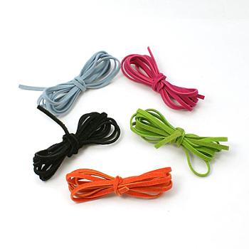 Cuerda de ante imitación, encaje de imitación de gamuza, color mezclado, 2.5x1.4mm, 1 m / cadena