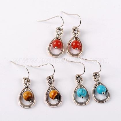 Tibetan Style Gemstone Dangle EarringsEJEW-JE01406-1