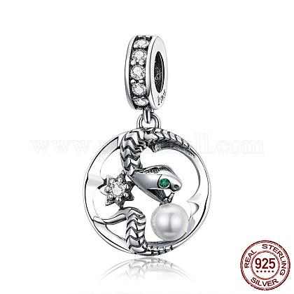 Abalorios de plata de ley 925 europea cuelganSTER-FF0009-34AS-1