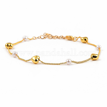 Brass Beaded Bracelets, Curb Chains, Plastic Imitation Pearl 304 Stainless Steel Lobster Claw Clasps, Heart, Golden, 7-1/2 inches(19cm) BJEW-JB05353