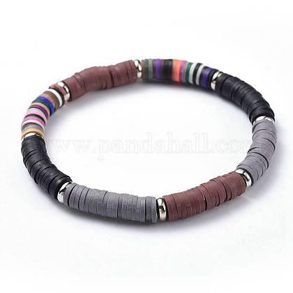 Polymer Clay Heishi Beads Beads Stretch BraceletsBJEW-JB04450-02-1