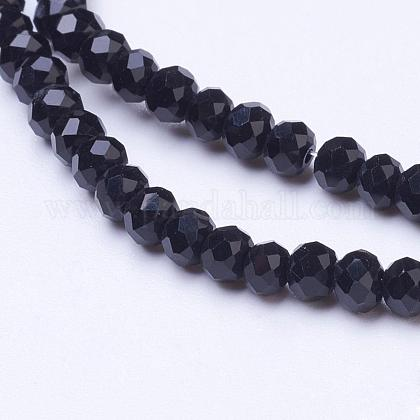 Opaque Solid Color Faceted Glass Beads StrandsEGLA-J047-3x2mm-07-1
