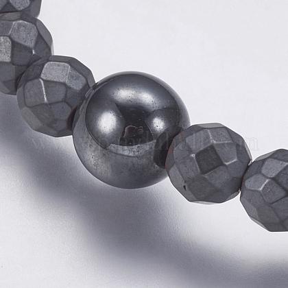 磁気無し合成ヘマタイトビーズネックレスNJEW-K096-11D-1