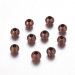 Brass Textured Beads, Nickel Free, Round, Red Copper Color, Size: about 4mm in diameter, hole: 1mm