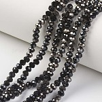Electroplate Opaque Glass Beads Strands, Half Black Plated, Faceted, Rondelle, Black, 2x1.5mm, Hole: 0.4mm; about 195pcs/strand, 11inches(28cm)