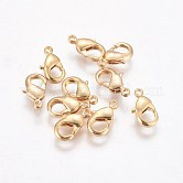 Brass Lobster Claw Clasps, Real 18K Gold Plated, 10x6x2.5mm, Hole: 1mm