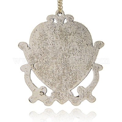 Antique Silver Plated Large Brass Bail Pendant 48mm
