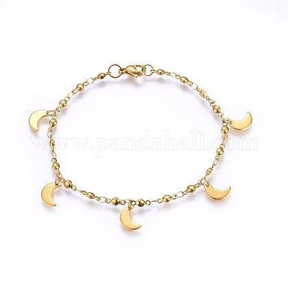 304 pulseras del encanto del acero inoxidableX-BJEW-H579-26G-1