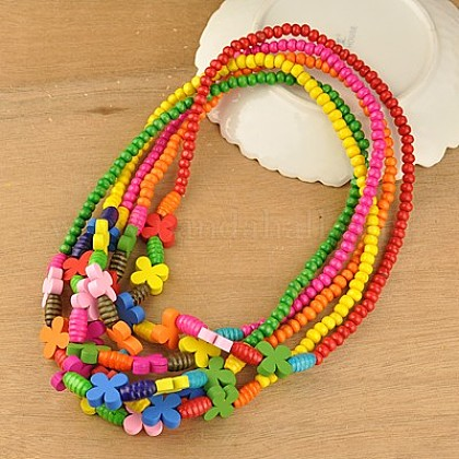 Colorful Wood Necklaces for KidsNJEW-JN00308-1