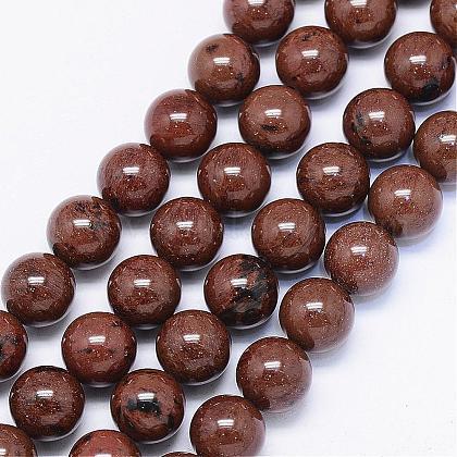Натурального красного дерева обсидиана бусинка нитиG-F425-01-1