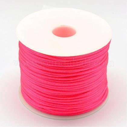 ナイロン糸  ラットテールサテンコード  濃いピンク  1.0mm  約76.55ヤード(70m)/ロールNWIR-R025-1.0mm-F106-1