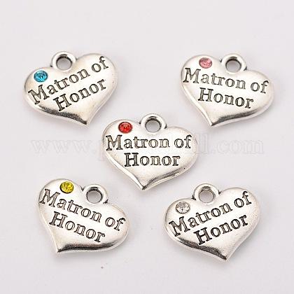 Charms de corazón de plata antigua del tema de la boda de estilo tibetanoX-TIBEP-N005-03-1