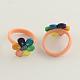 Anillos de dedo de la flor de arcilla de polímero hechos a mano para niñosRJEW-Q153-02-1